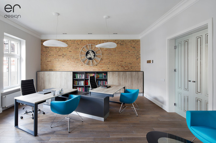 Modern Study Room and Home Office by ER DESIGN Modern Bricks