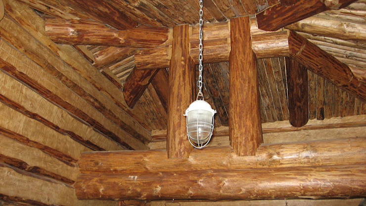 Солнечное Гостиная в рустикальном стиле от Техно-сруб Рустикальный Дерево Эффект древесины
