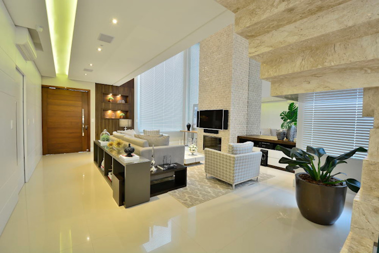 ANDRÉ PACHECO ARQUITETURA Modern Living Room Marble Beige
