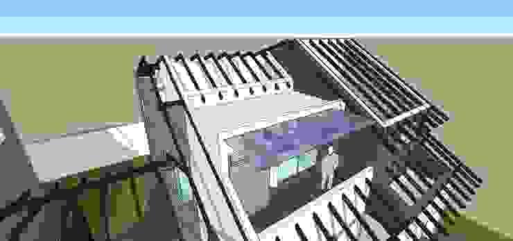 Detalle de estructura de techos Balcones y terrazas de estilo moderno de MARATEA estudio Moderno