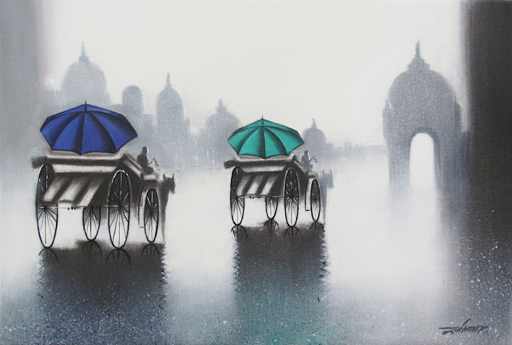 Rhythmic monsoon ride: asian  by Indian Art Ideas,Asian