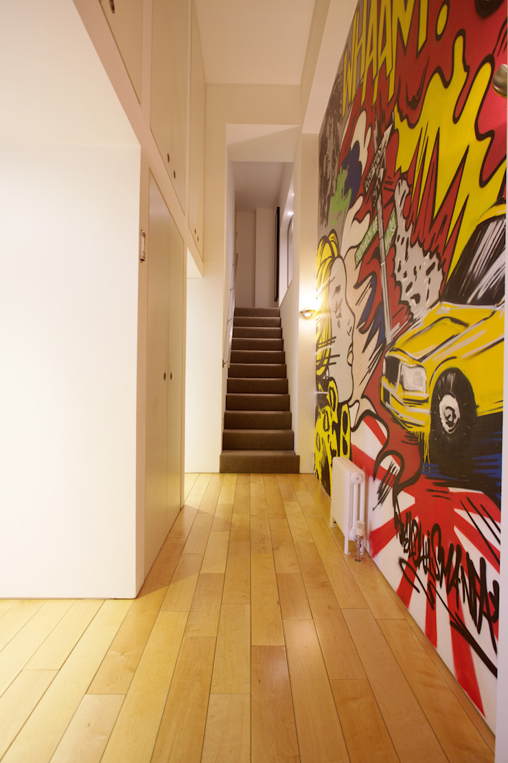 London Loft Industrial style corridor, hallway and stairs by JKG Interiors Industrial