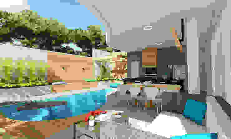 Projeto Arquitetura Residencial AR17 Varandas, alpendres e terraços modernos por arquiteto bignotto Moderno