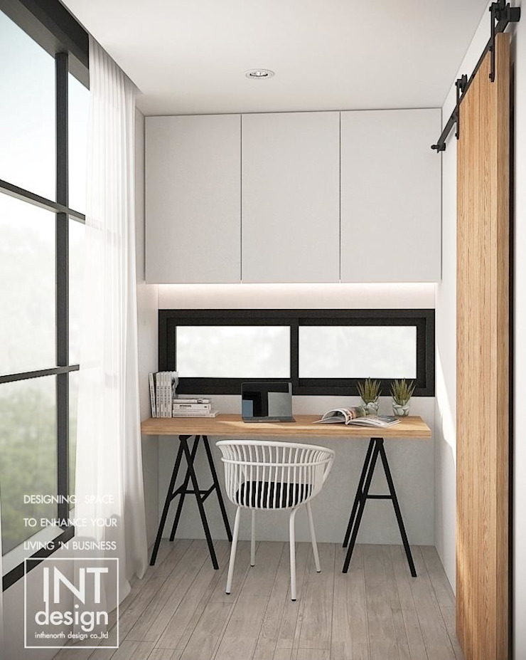 มุมห้องทำงานริมหน้าต่างๆ: ที่เรียบง่าย  โดย Inthenorth Design Co.,Ltd, มินิมัล เฟอร์ White