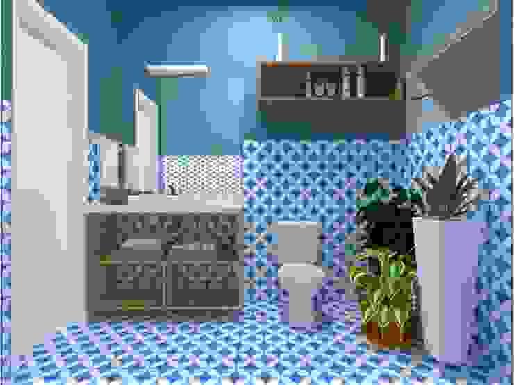 Lavabo Atelie 3 Arquitetura Banheiros campestres Azulejo Azul