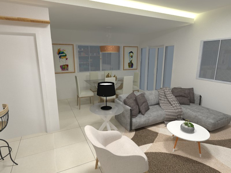 Sala de estar Atelie 3 Arquitetura Salas de estar campestres MDF Branco