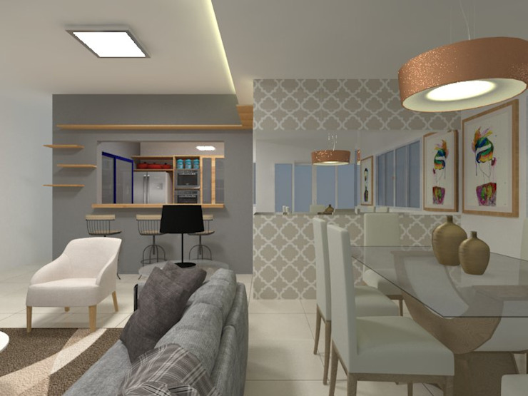 Sala de estar Atelie 3 Arquitetura Salas de estar campestres MDF Bege