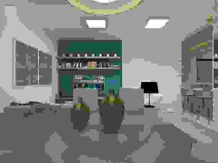 Sala de estar Atelie 3 Arquitetura Salas de estar campestres MDF Azul