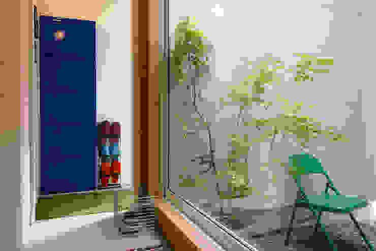 またあしたニャーの家 風景のある家.LLC インダストリアルな 玄関&廊下&階段 石 緑