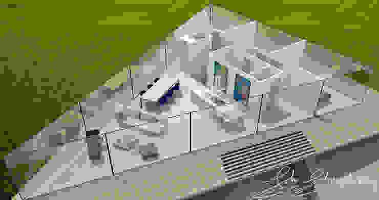 Impressie indeling woonverdieping 3D vogelvlucht Moderne woonkamers van Schneijderberg Architectuur & Design Modern