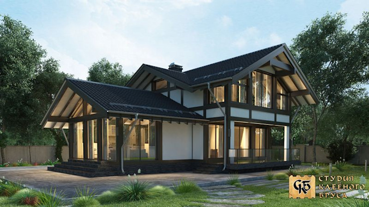 Industrial style houses by ООО 'Студия Клееного Бруса' Industrial Solid Wood Multicolored