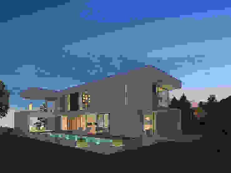 Gartenansicht abends Moderne Häuser von Fichtner Gruber Architekten Modern