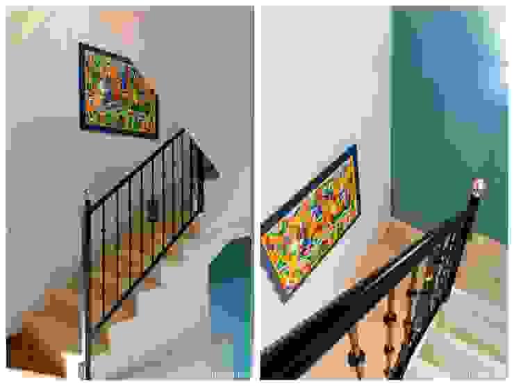custom casa home staging Rustic style corridor, hallway & stairs