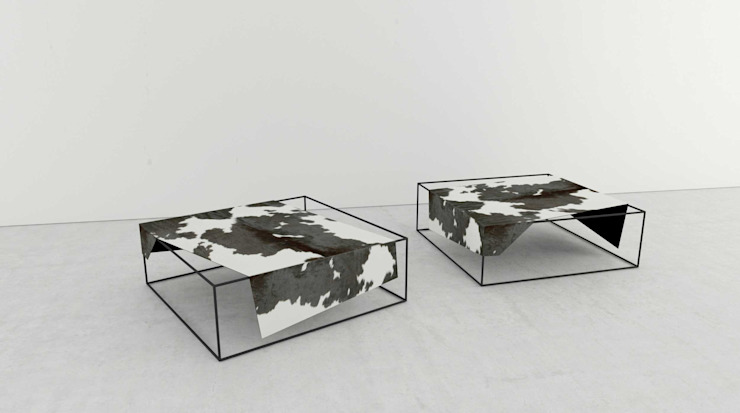 t design Living roomSide tables & trays Leather Black