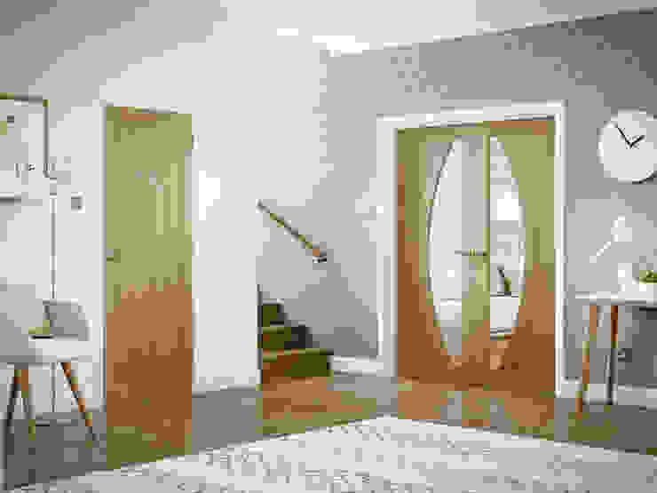Salerno Oak Glazed Rebated Pair and single solid Internal Door: modern  by Modern Doors Ltd, Modern Engineered Wood Transparent