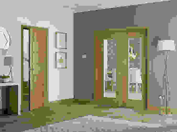 Palermo Oak Internal Door and Glazed Rebated Pair: modern  by Modern Doors Ltd, Modern Engineered Wood Transparent