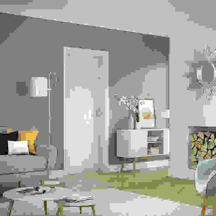 Potenza White Internal Door: modern  by Modern Doors Ltd, Modern Engineered Wood Transparent