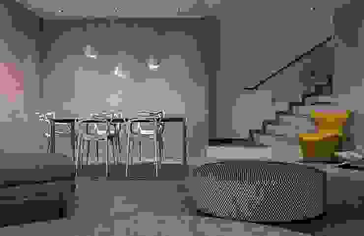 Rigore e colore MD Creative Lab - Architettura & Design Soggiorno moderno Grigio
