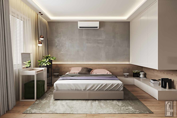 Dormitorios de estilo minimalista de СВЕТЛАНА АГАПОВА ДИЗАЙН ИНТЕРЬЕРА Minimalista
