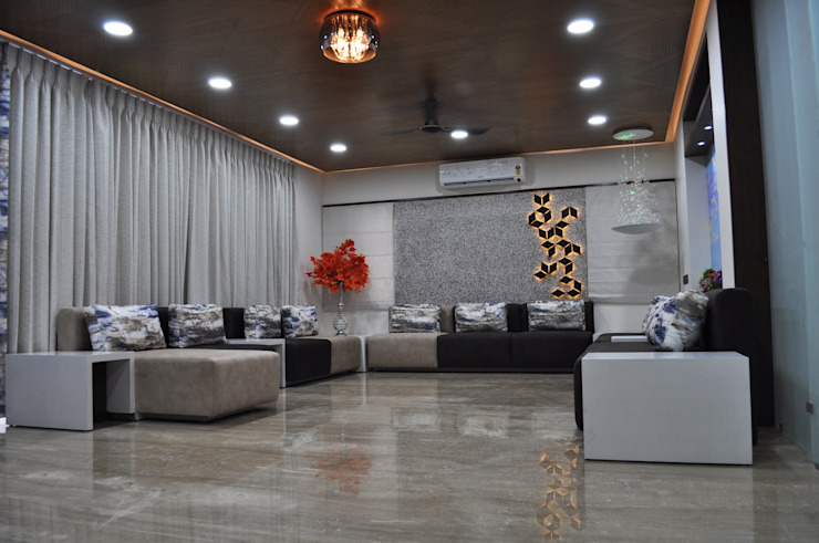 Interior of Nikhil Prajapati Modern living room by Architects at Work Modern