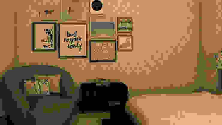 Projeto 3D - Quarto Ana Andrade - Design de Interiores Quartos modernos