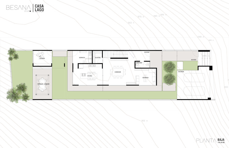 Planta Baja Pasillos, vestíbulos y escaleras modernos de Besana Studio Moderno