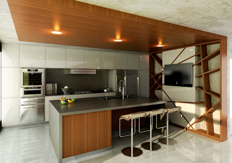 CASA RBN (2015) Cocinas modernas: Ideas, imágenes y decoración de unoenseis Estudio Moderno
