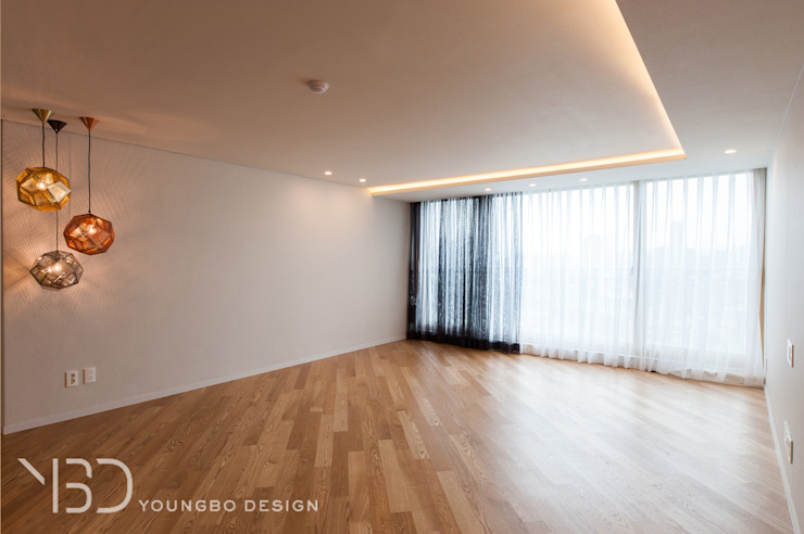 포인트 조명과 함께 만들어지는 거실 모던스타일 거실 by 영보디자인 YOUNGBO DESIGN 모던