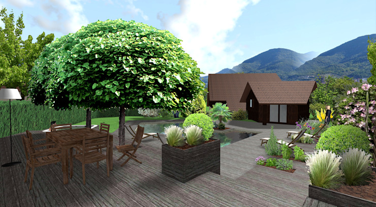 Modern balcony, veranda & terrace by Anthemis Bureau d'Etude Paysage Modern