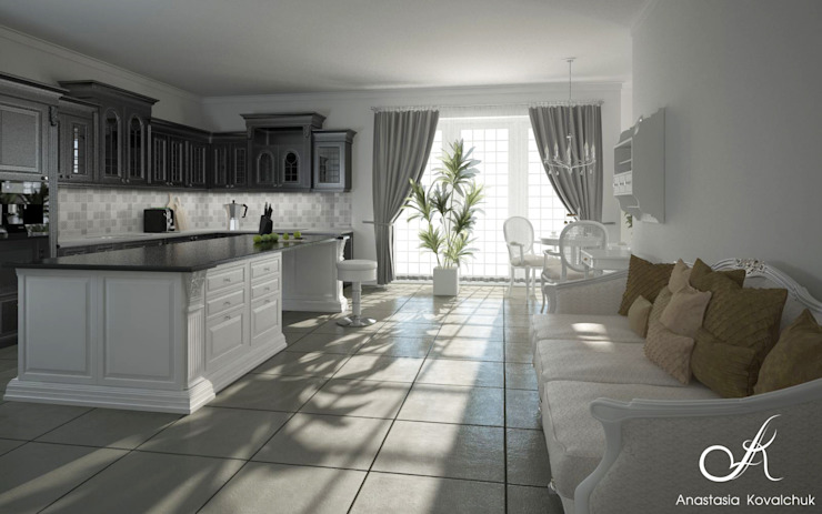 Kitchen drawing room in the house Classic style dining room by Design studio by Anastasia Kovalchuk Classic