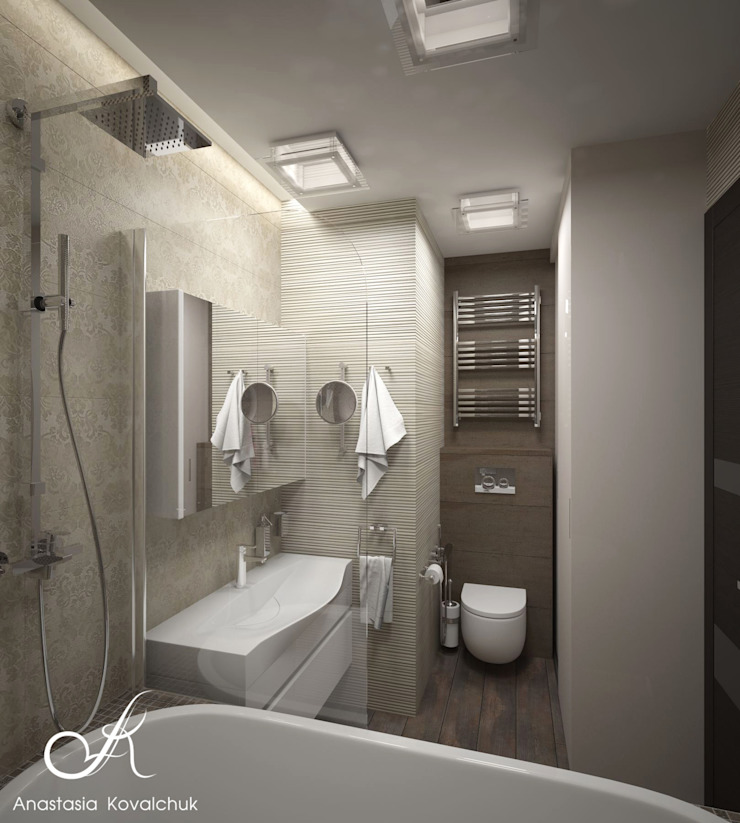 Apartment in Moscow Modern Bathroom by Design studio by Anastasia Kovalchuk Modern