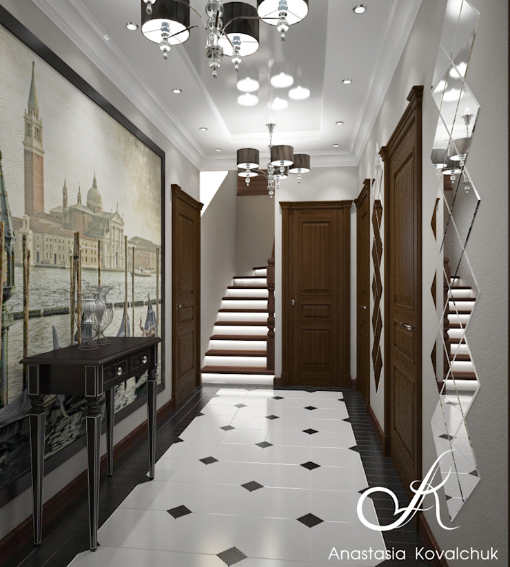 Townhouse in style of an art deco Classic style corridor, hallway and stairs by Design studio by Anastasia Kovalchuk Classic