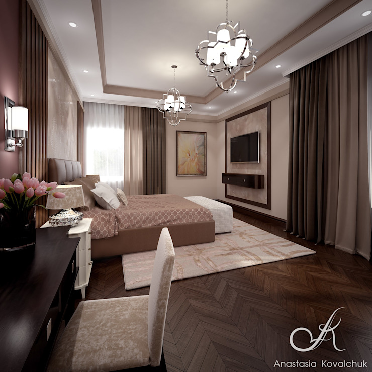 Villa with the pool Modern Bedroom by Design studio by Anastasia Kovalchuk Modern