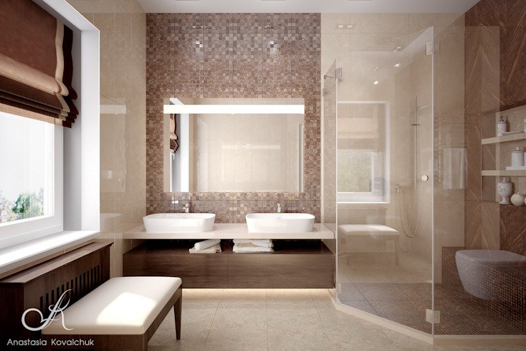 Villa with the pool Modern Bathroom by Design studio by Anastasia Kovalchuk Modern