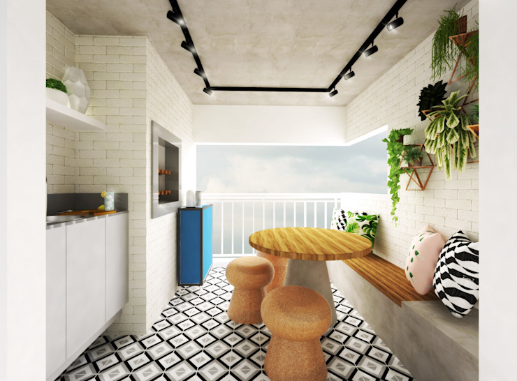 Apartamento Essence Daniela Simões Arquitetura e Interiores Varandas, alpendres e terraços industriais