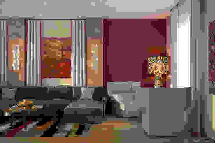 Дизайн гостиной (2 этаж) в доме в пос. Старобжегокай, г.Краснодар Гостиные в эклектичном стиле от Студия интерьерного дизайна happy.design Эклектичный