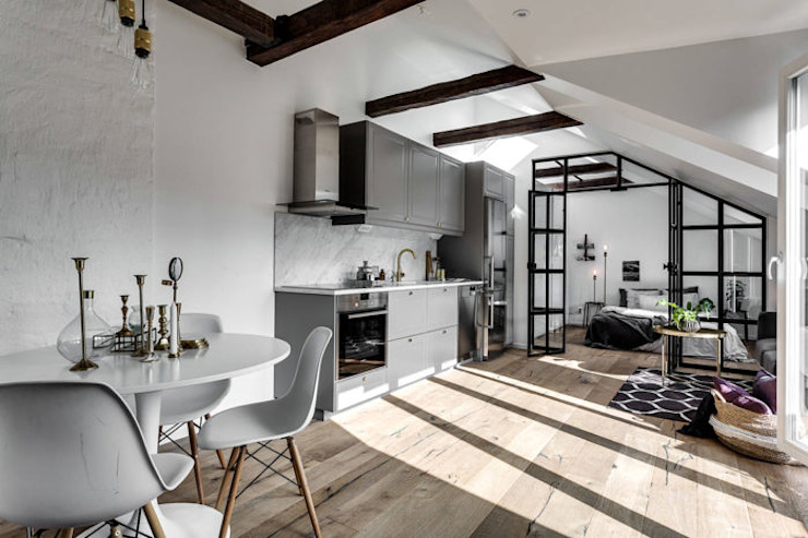 ​37 mq intelligenti Cucina in stile scandinavo di Design for Love Scandinavo