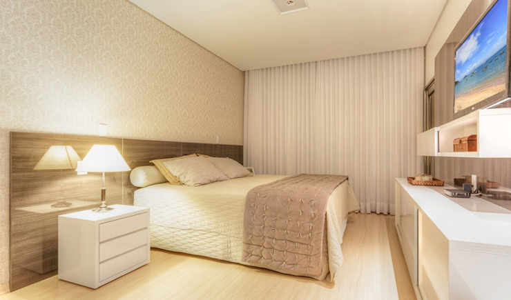 JANAINA NAVES - Design & Arquitetura Eclectic style bedroom MDF Beige