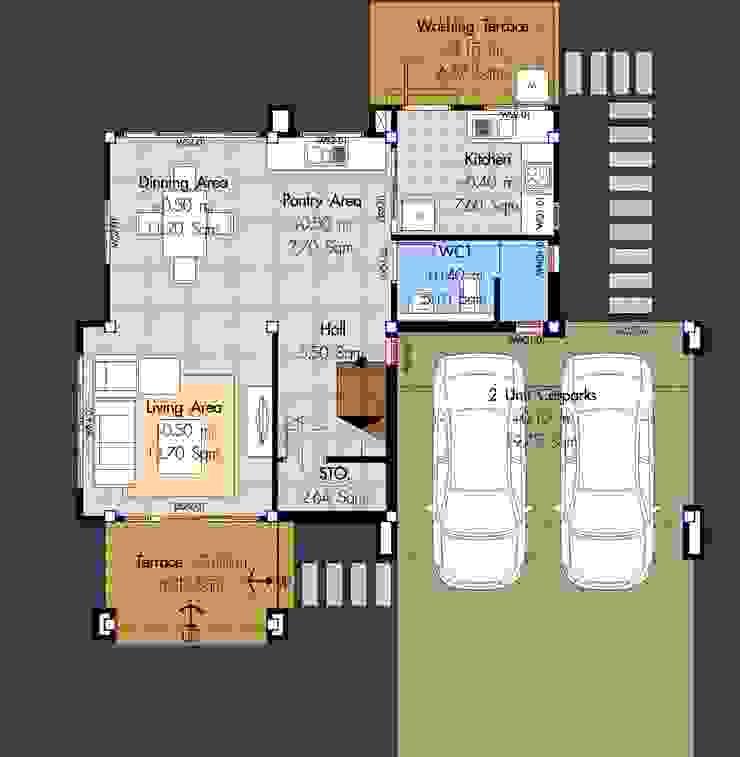 แบบบ้าน <q>HSD 3-02</q> โดย บริษัทโฮมสแตนดาร์ดหาดใหญ่ จำกัด