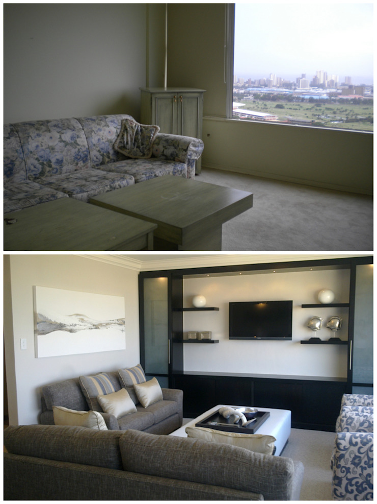 living room - before & after: modern  by Kirsty Badenhorst Interiors, Modern
