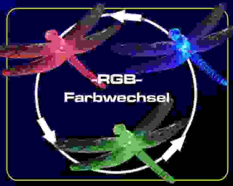 Solar-Gartenstab mit Libelle -Motiv mit 3-fach LED-Farbwechselspiel Solarlichtladen.de Balkon, Veranda & TerrasseAccessoires und Dekoration Mehrfarbig