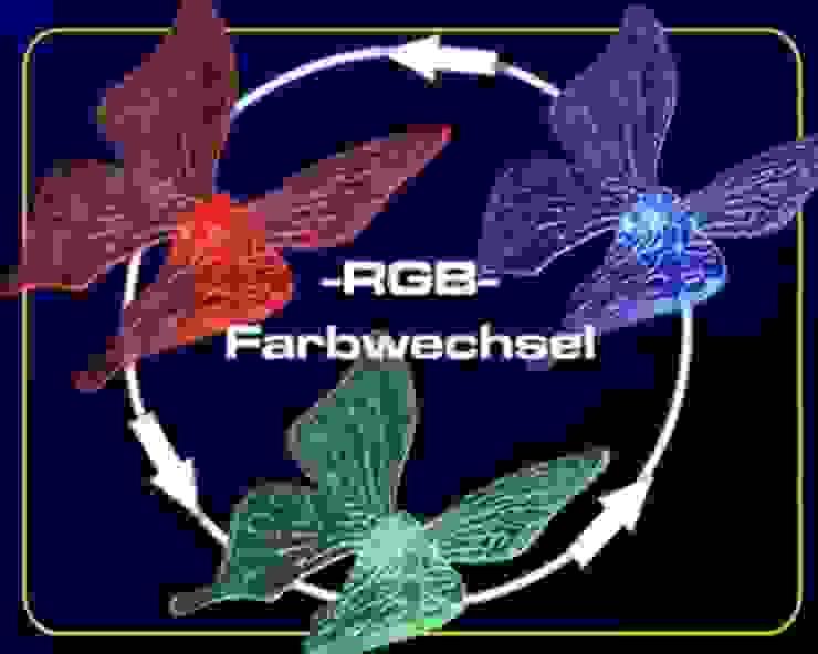 Solar-Stableuchte mit Motiv Schmetterling mit nächtlich leuchtenden 3-fach LED-Farbwechselspiel Solarlichtladen.de Balkon, Veranda & TerrasseAccessoires und Dekoration Mehrfarbig