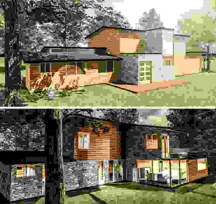 Casa 171 Casas de estilo rústico de ECVA Arquitectura Rústico Madera Acabado en madera
