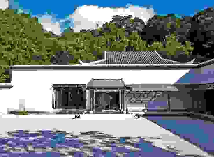 綜合展示館入口與迴廊格柵光影 根據 薛晉屏建築師事務所