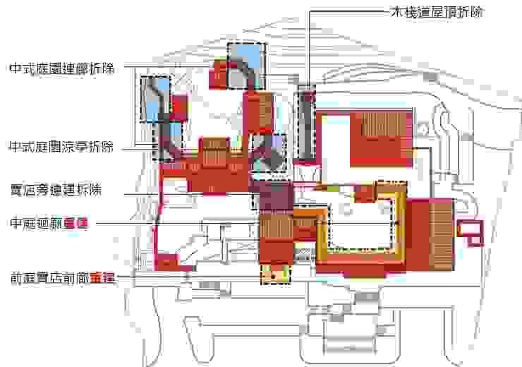 減法設計,拆除整改範圍 根據 薛晉屏建築師事務所