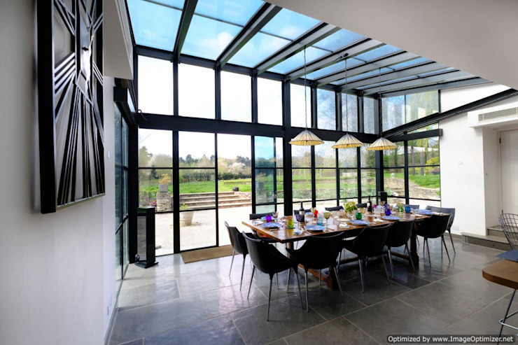 Rowood Farmhouse Modern dining room by IQ Glass UK Modern