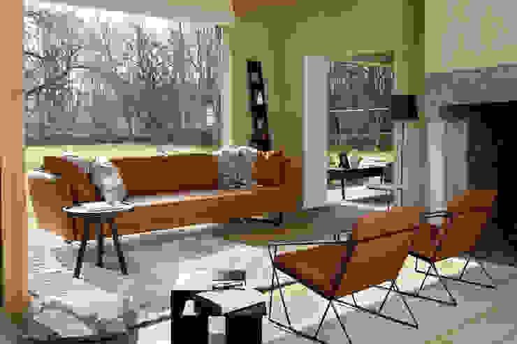 VIC in cognackleurig leder - AUDE fauteuils - JIGSAW bijzettafel - JON tafel/dienblad - LEAN rack - SHADES tapijt - TAG kussens: modern  door MOOME, Modern Leer Grijs