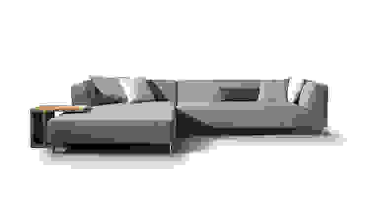 MIT sofa & CHARLES bijzettafel: modern  door MOOME, Modern Textiel Amber / Goud