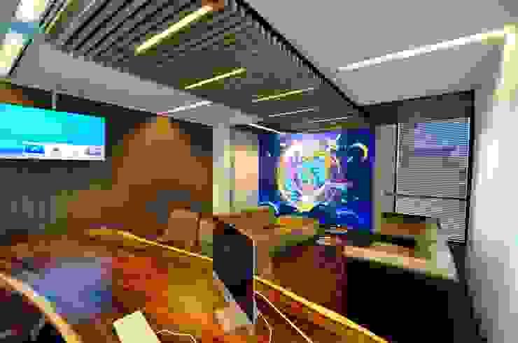 Houten latjes plafond Moderne kantoorgebouwen van Bobarchitectuur Modern Massief hout Bont