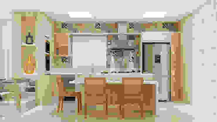 Cozinha em estilo Contemporâneo Flávia Kloss Arquitetura de Interiores Cozinhas modernas MDF Bege